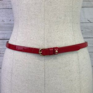 J. crew red skinny belt genuine patent leather S